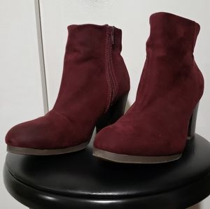 Old Navy Maroon Heeled Ankle Booties Boots
